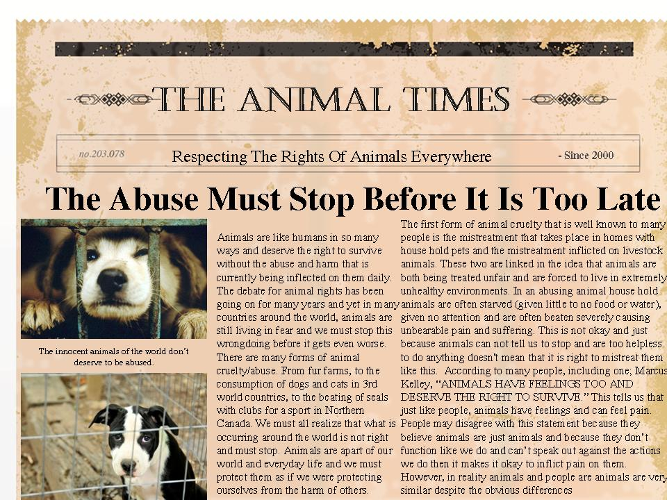 writing realantasy productions and entertainment opinion essay animal abuse